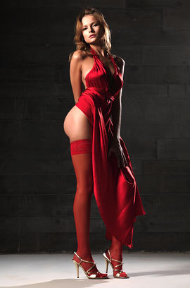 Luba Shumeyko In Fiery Red Satin