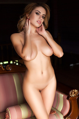 Hot Blonde Glam Babe Margot Naked On The Sofa