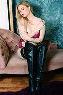 Leather Lover Blonde Hottie