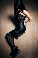 Eva Kahil In Leather And Lace