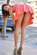 Cute Brunette Beauty Roxanna In Sexy Pink Summer Dress
