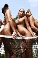 Tight Oiled Babes Playing Tennis